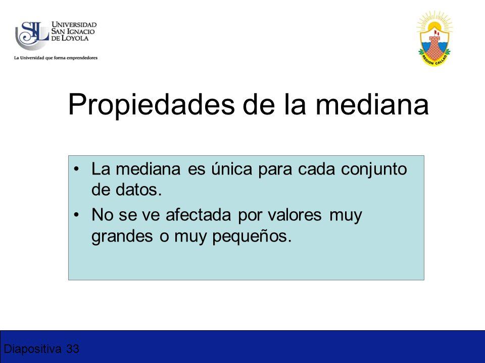 Diapositiva 33 Propiedades de la mediana La mediana es única para cada conjunto de datos. No se ve afectada por valores muy grandes o muy pequeños. 3-