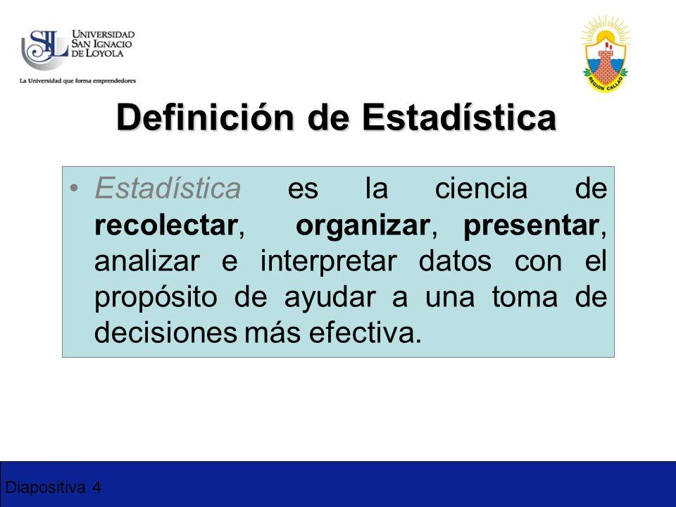 Diapositiva 4 Definición de Estadística Estadística es la ciencia de recolectar, organizar, presentar, analizar e interpretar datos con el propósito d