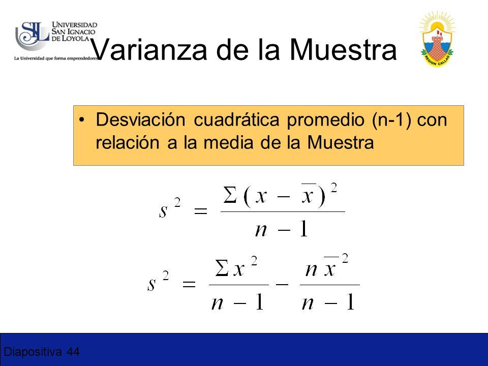 Diapositiva 44 Desviación cuadrática promedio (n-1) con relación a la media de la Muestra Varianza de la Muestra