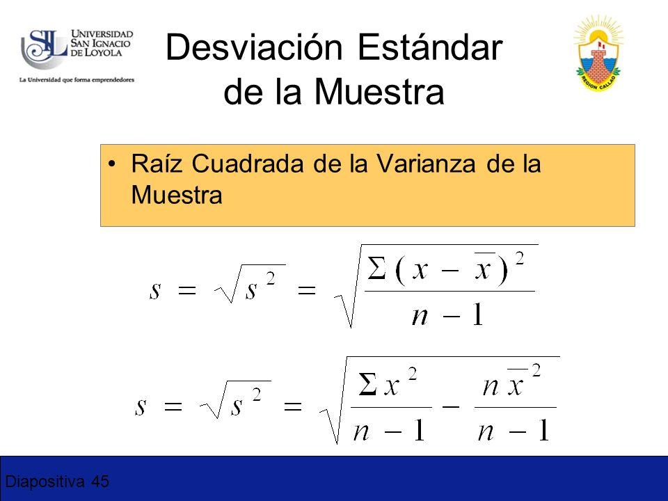 Diapositiva 45 Raíz Cuadrada de la Varianza de la Muestra Desviación Estándar de la Muestra