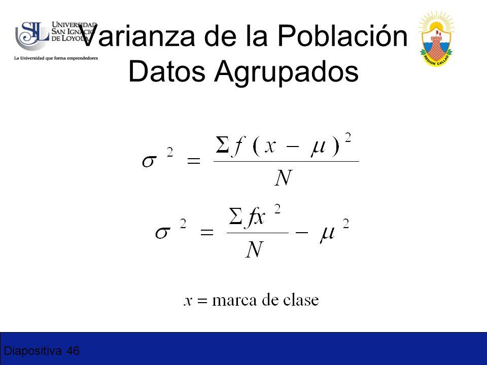 Diapositiva 46 Varianza de la Población Datos Agrupados