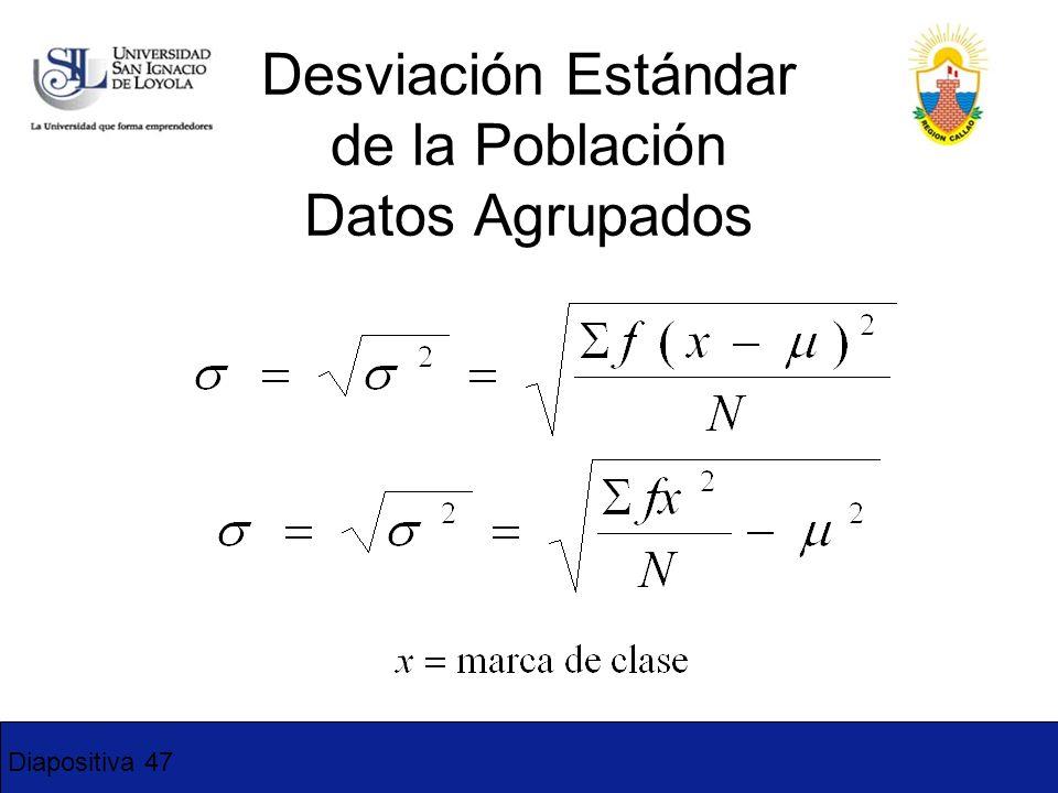 Diapositiva 47 Desviación Estándar de la Población Datos Agrupados