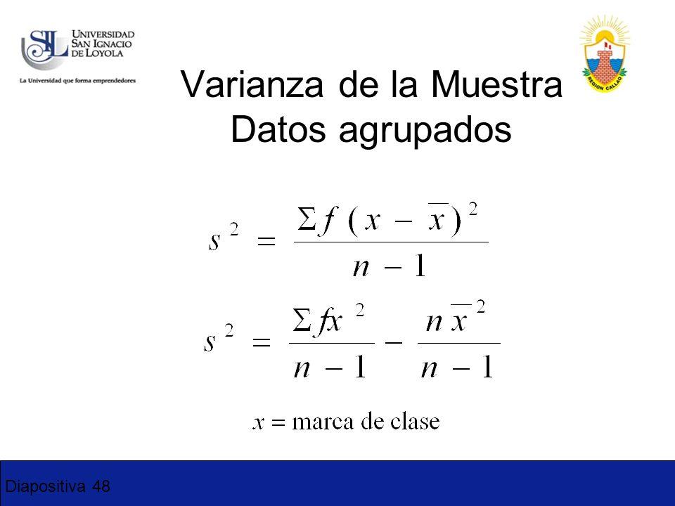 Diapositiva 48 Varianza de la Muestra Datos agrupados