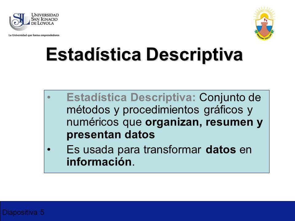 Diapositiva 5 Estadística Descriptiva Estadística Descriptiva: Conjunto de métodos y procedimientos gráficos y numéricos que organizan, resumen y pres