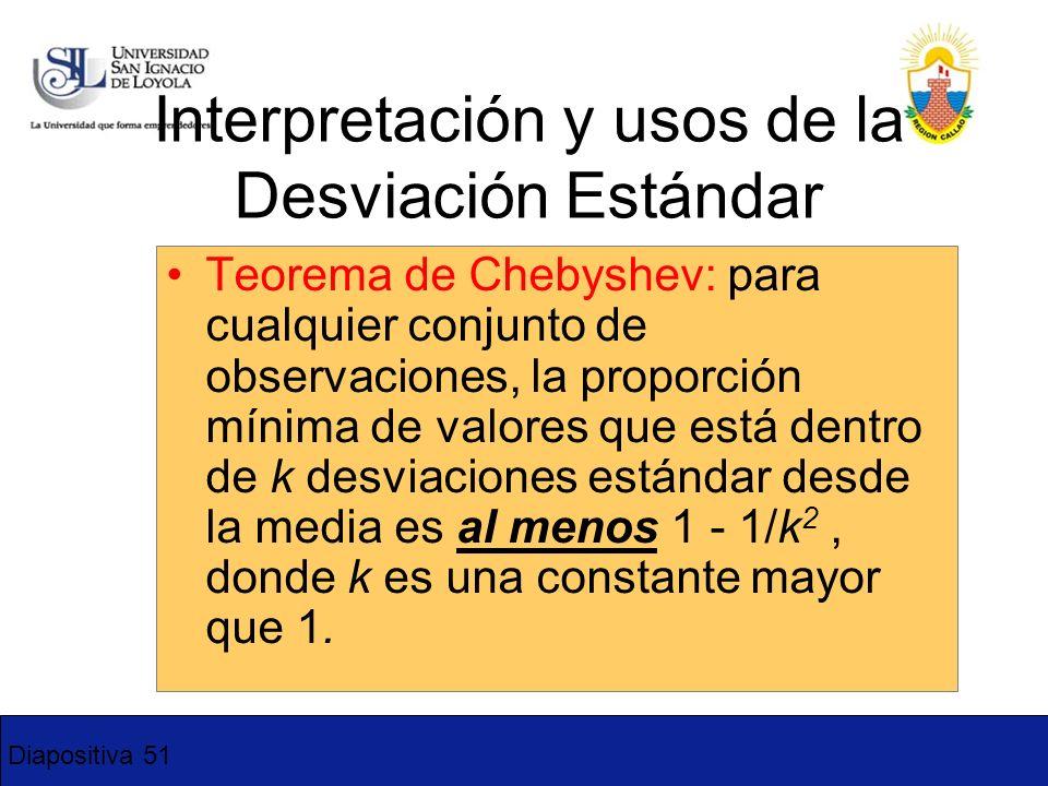 Diapositiva 51 Interpretación y usos de la Desviación Estándar Teorema de Chebyshev: para cualquier conjunto de observaciones, la proporción mínima de