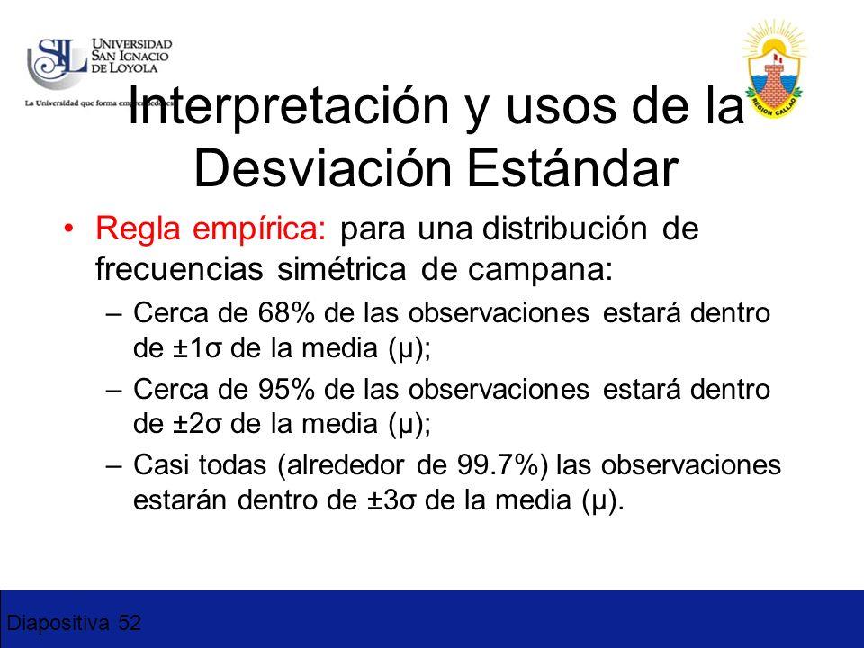 Diapositiva 52 Interpretación y usos de la Desviación Estándar Regla empírica: para una distribución de frecuencias simétrica de campana: –Cerca de 68