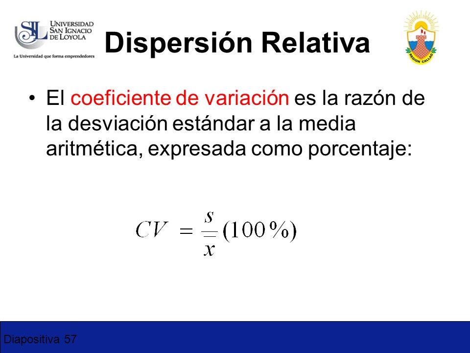 Diapositiva 57 Dispersión Relativa El coeficiente de variación es la razón de la desviación estándar a la media aritmética, expresada como porcentaje: