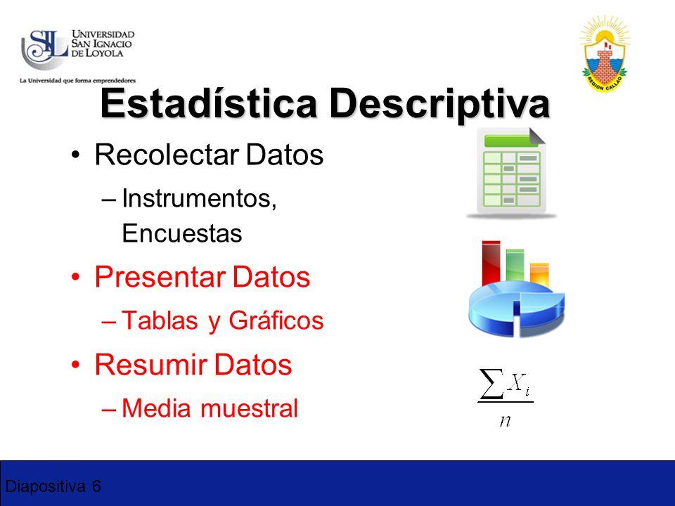 Diapositiva 6 Estadística Descriptiva Recolectar Datos –Instrumentos, Encuestas Presentar Datos –Tablas y Gráficos Resumir Datos –Media muestral