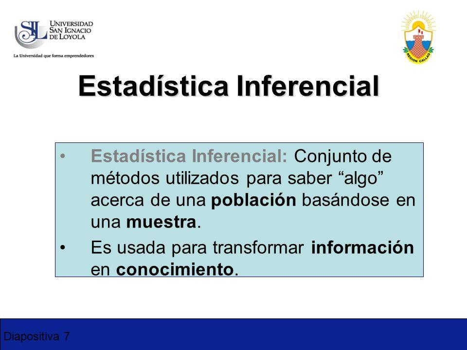 Diapositiva 7 Estadística Inferencial Estadística Inferencial: Conjunto de métodos utilizados para saber algo acerca de una población basándose en una
