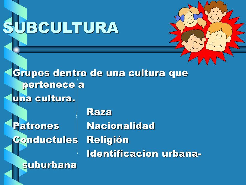SUBCULTURA Grupos dentro de una cultura que pertenece a una cultura. Raza PatronesNacionalidad ConductulesReligión Identificacion urbana- suburbana