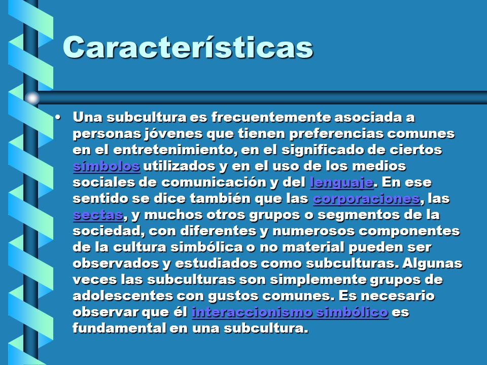 Características Una subcultura es frecuentemente asociada a personas jóvenes que tienen preferencias comunes en el entretenimiento, en el significado