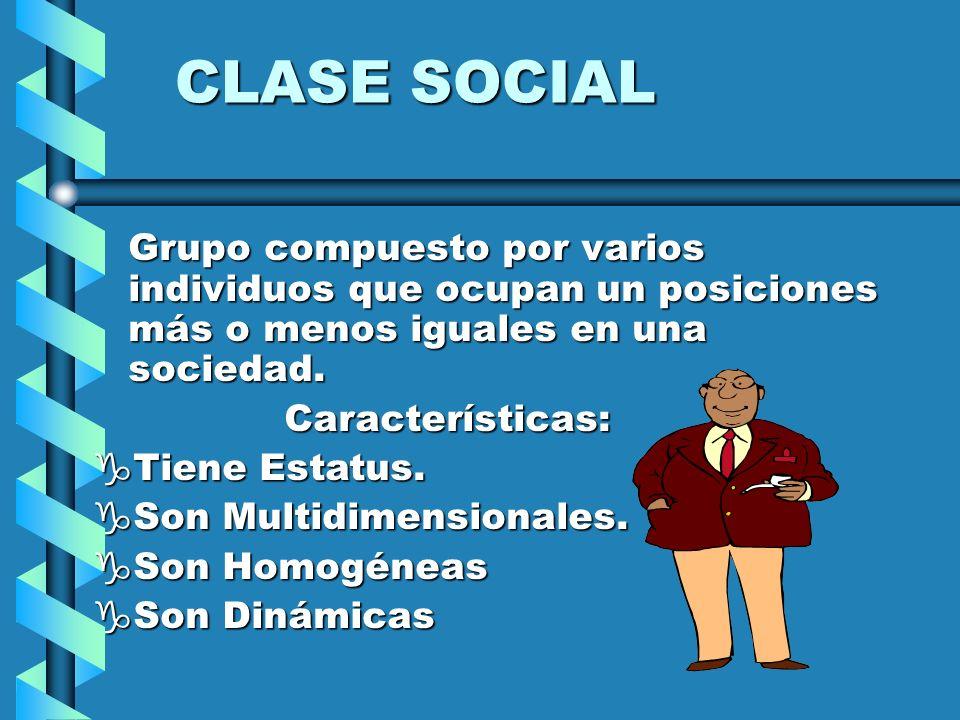 CLASE SOCIAL Grupo compuesto por varios individuos que ocupan un posiciones más o menos iguales en una sociedad. Características: gTiene Estatus. gSon