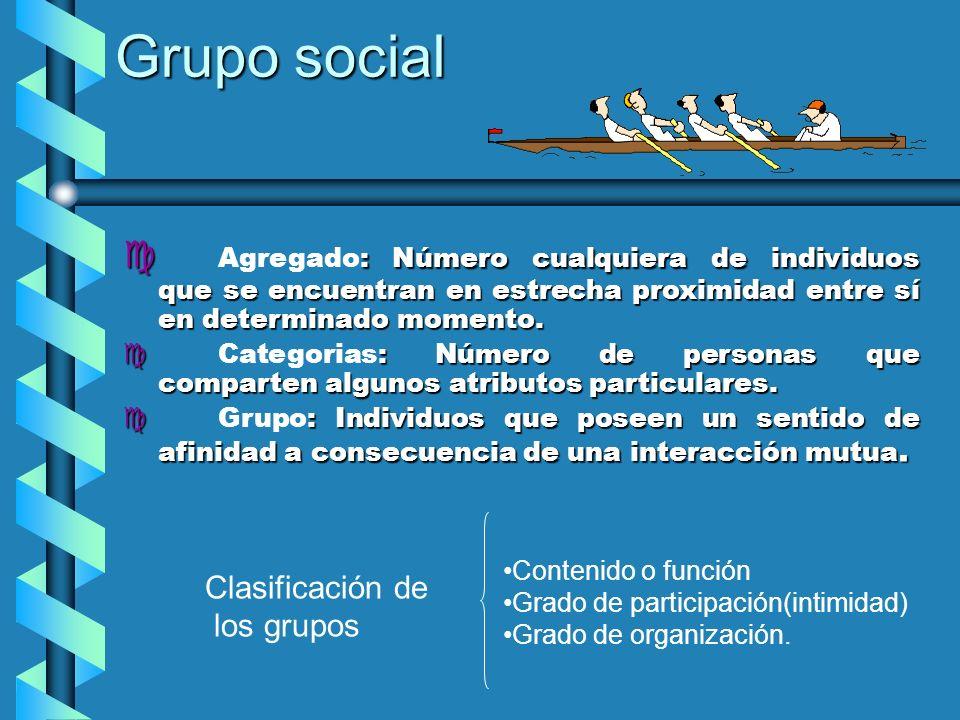 Grupo social c : Número cualquiera de individuos que se encuentran en estrecha proximidad entre sí en determinado momento. c Agregado: Número cualquie