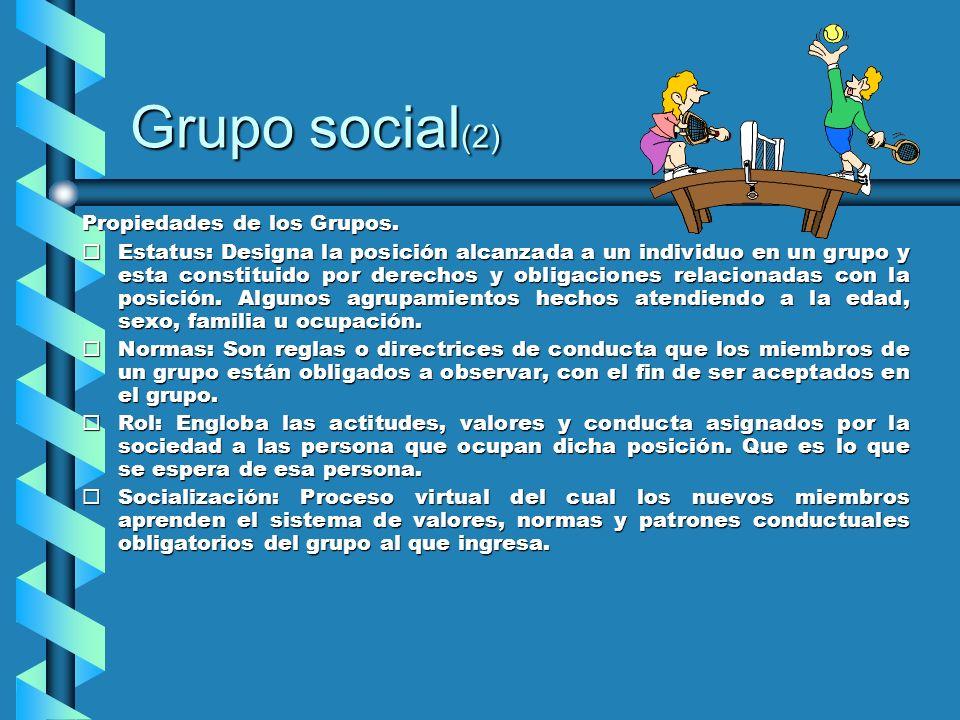 Grupo social (2) Propiedades de los Grupos. ¨Estatus: Designa la posición alcanzada a un individuo en un grupo y esta constituido por derechos y oblig
