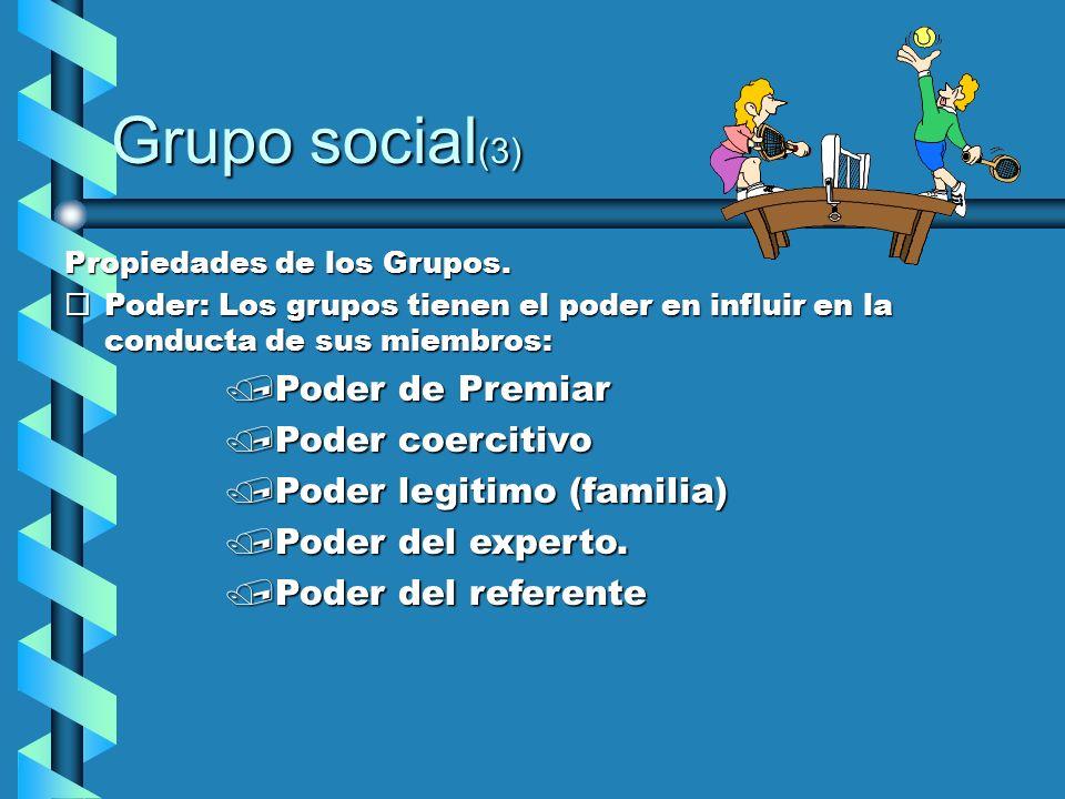 Grupo social (3) Propiedades de los Grupos. ¨Poder: Los grupos tienen el poder en influir en la conducta de sus miembros: /Poder de Premiar /Poder coe