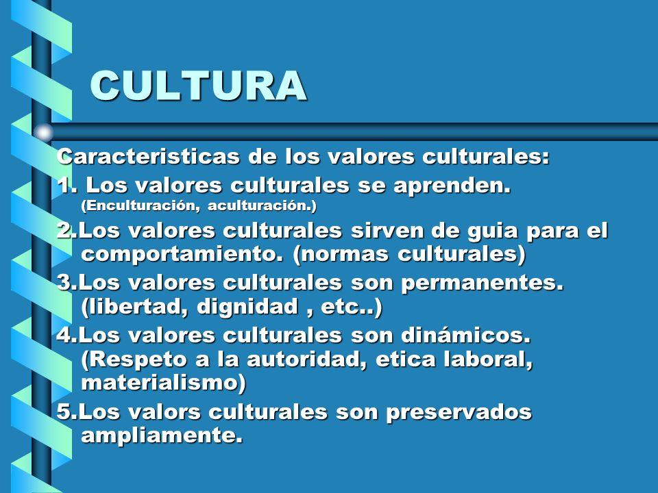 Caracteristicas de los valores culturales: 1. Los valores culturales se aprenden. (Enculturación, aculturación.) 2.Los valores culturales sirven de gu