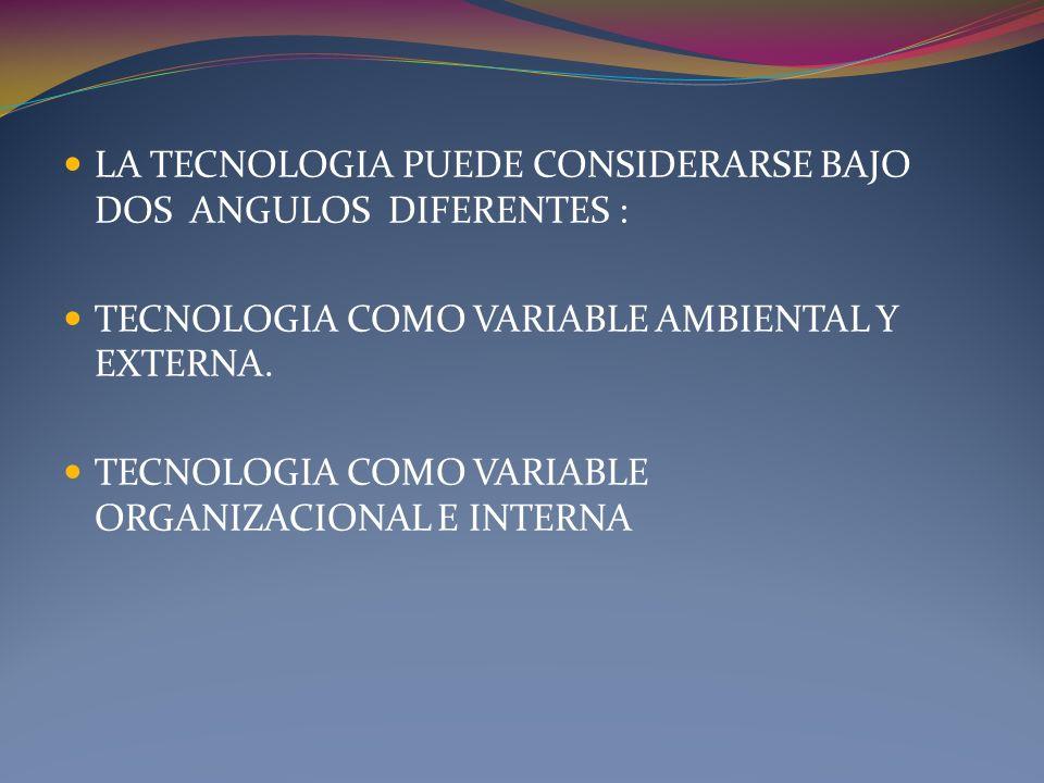 LA TECNOLOGIA PUEDE CONSIDERARSE BAJO DOS ANGULOS DIFERENTES : TECNOLOGIA COMO VARIABLE AMBIENTAL Y EXTERNA. TECNOLOGIA COMO VARIABLE ORGANIZACIONAL E