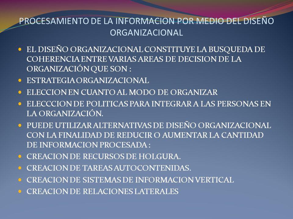 PROCESAMIENTO DE LA INFORMACION POR MEDIO DEL DISEÑO ORGANIZACIONAL EL DISEÑO ORGANIZACIONAL CONSTITUYE LA BUSQUEDA DE COHERENCIA ENTRE VARIAS AREAS D