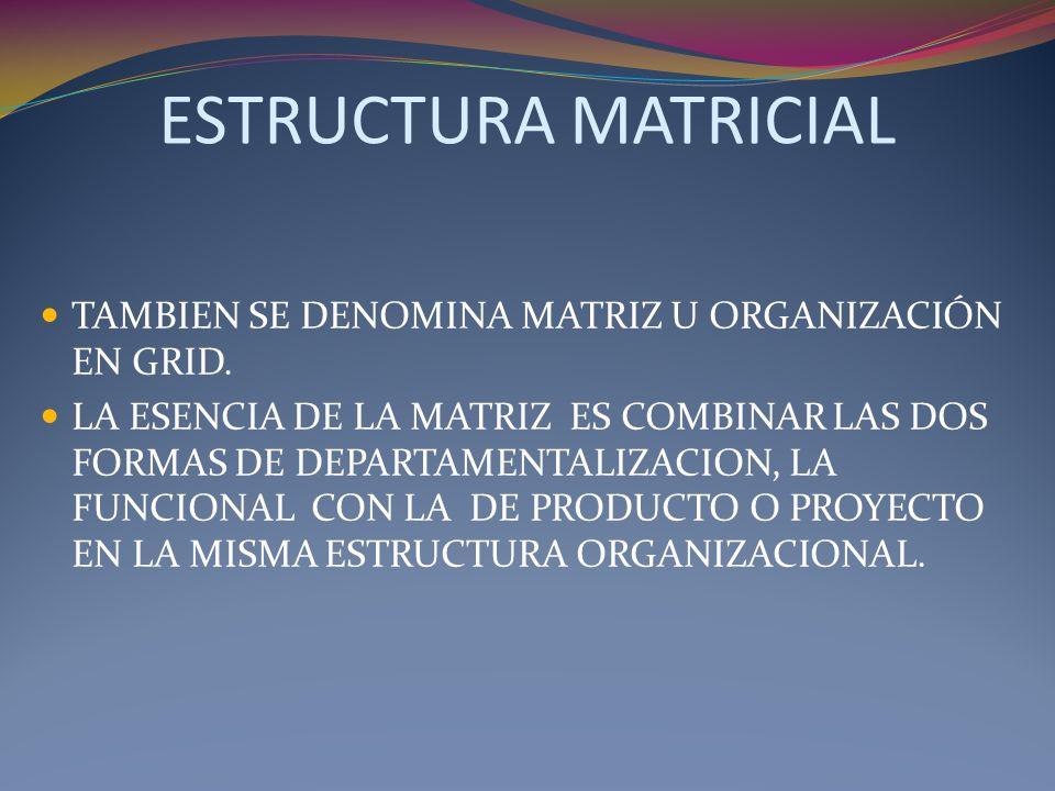 ESTRUCTURA MATRICIAL TAMBIEN SE DENOMINA MATRIZ U ORGANIZACIÓN EN GRID. LA ESENCIA DE LA MATRIZ ES COMBINAR LAS DOS FORMAS DE DEPARTAMENTALIZACION, LA