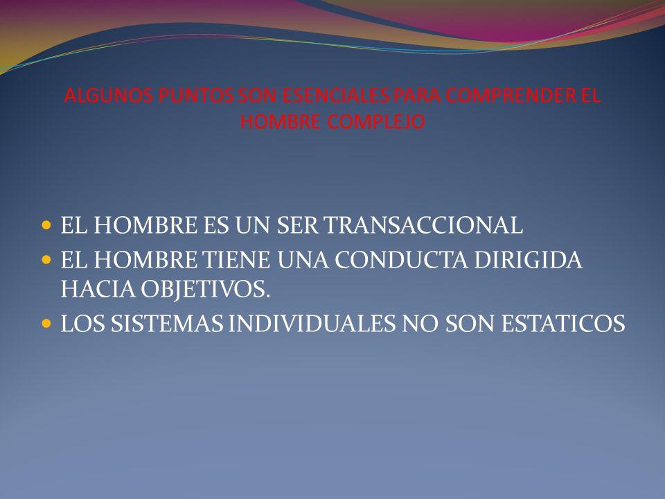 ALGUNOS PUNTOS SON ESENCIALES PARA COMPRENDER EL HOMBRE COMPLEJO EL HOMBRE ES UN SER TRANSACCIONAL EL HOMBRE TIENE UNA CONDUCTA DIRIGIDA HACIA OBJETIV