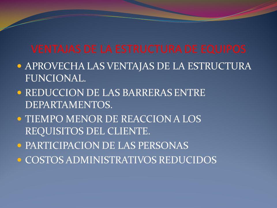 VENTAJAS DE LA ESTRUCTURA DE EQUIPOS APROVECHA LAS VENTAJAS DE LA ESTRUCTURA FUNCIONAL. REDUCCION DE LAS BARRERAS ENTRE DEPARTAMENTOS. TIEMPO MENOR DE