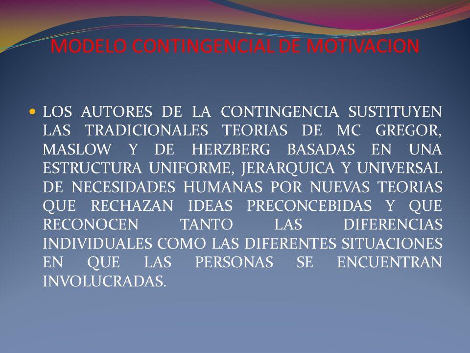 MODELO CONTINGENCIAL DE MOTIVACION LOS AUTORES DE LA CONTINGENCIA SUSTITUYEN LAS TRADICIONALES TEORIAS DE MC GREGOR, MASLOW Y DE HERZBERG BASADAS EN U