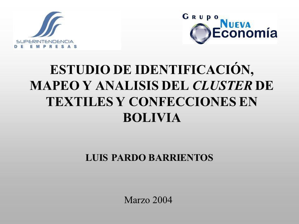 ESTUDIO DE IDENTIFICACIÓN, MAPEO Y ANALISIS DEL CLUSTER DE TEXTILES Y CONFECCIONES EN BOLIVIA Marzo 2004 LUIS PARDO BARRIENTOS