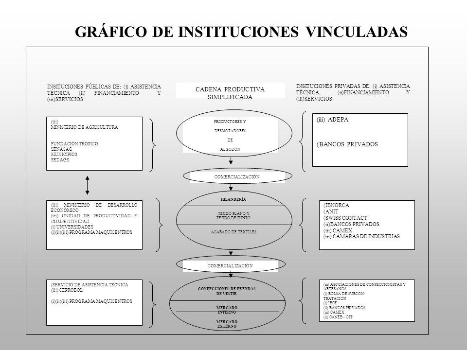 GRÁFICO DE INSTITUCIONES VINCULADAS INSITUCIONES PÚBLICAS DE: (i) ASISTENCIA TÉCNICA (ii) FINANCIAMIENTO Y (iii)SERVICIOS CADENA PRODUCTIVA SIMPLIFICA