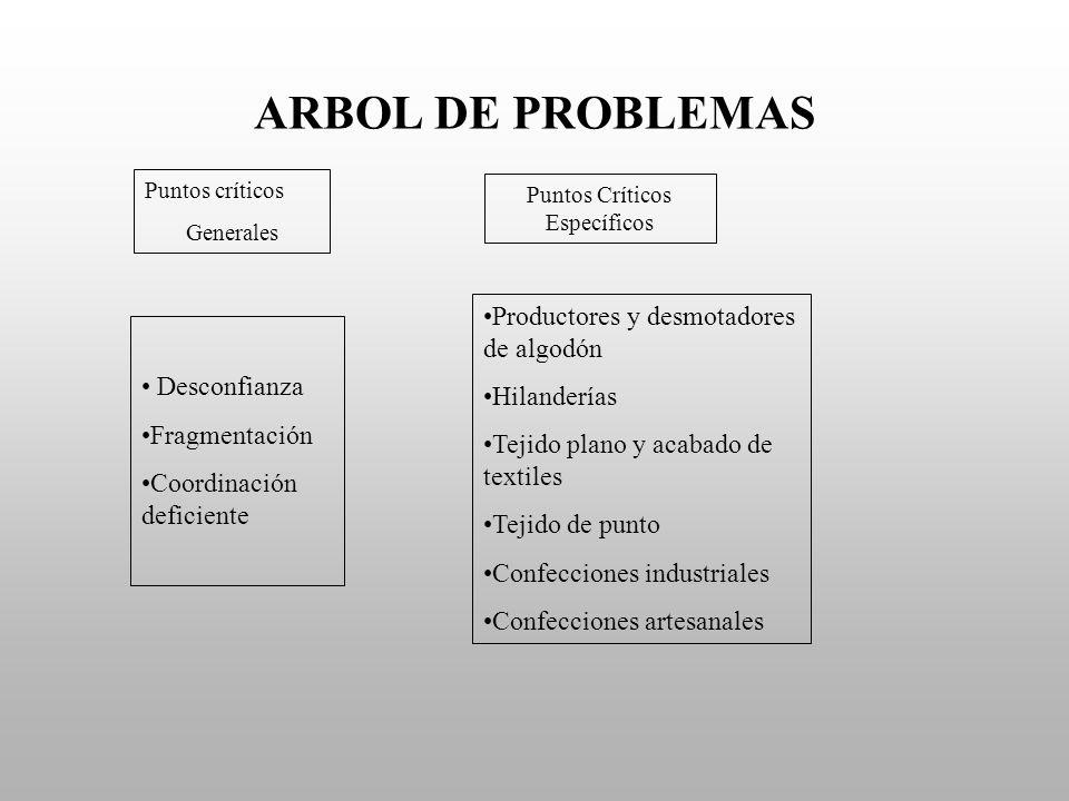 ARBOL DE PROBLEMAS Puntos críticos Generales Puntos Críticos Específicos Desconfianza Fragmentación Coordinación deficiente Productores y desmotadores