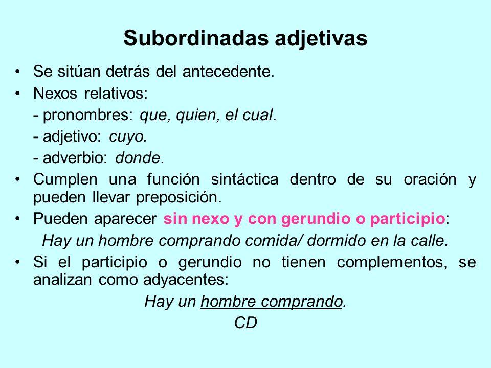 Subordinadas adjetivas Se sitúan detrás del antecedente. Nexos relativos: - pronombres: que, quien, el cual. - adjetivo: cuyo. - adverbio: donde. Cump