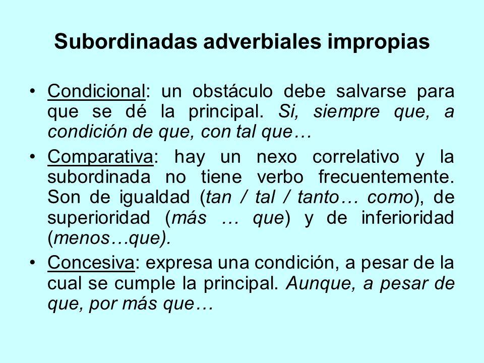 Subordinadas adverbiales impropias Condicional: un obstáculo debe salvarse para que se dé la principal. Si, siempre que, a condición de que, con tal q