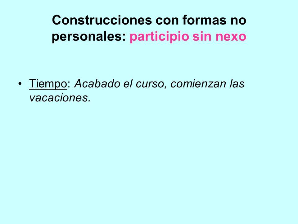 Construcciones con formas no personales: participio sin nexo Tiempo: Acabado el curso, comienzan las vacaciones.