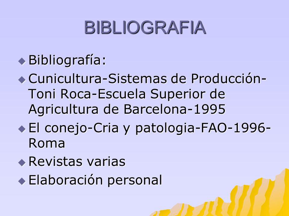 BIBLIOGRAFIA Bibliografía: Bibliografía: Cunicultura-Sistemas de Producción- Toni Roca-Escuela Superior de Agricultura de Barcelona-1995 Cunicultura-S