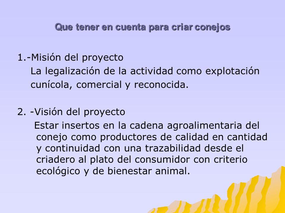Que tener en cuenta para criar conejos 1.-Misión del proyecto La legalización de la actividad como explotación cunícola, comercial y reconocida. 2. -V