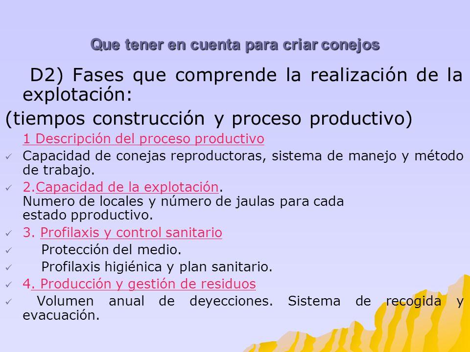 Que tener en cuenta para criar conejos D2) Fases que comprende la realización de la explotación: (tiempos construcción y proceso productivo) 1 Descrip