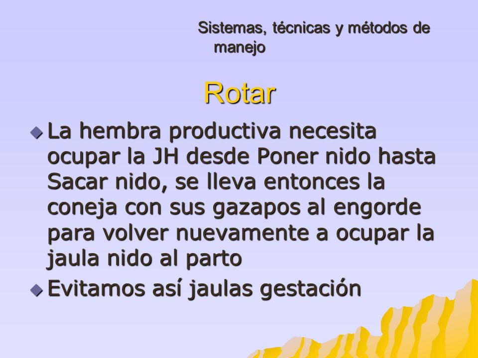 Sistemas, técnicas y métodos de manejo Rotar Sistemas, técnicas y métodos de manejo Rotar La hembra productiva necesita ocupar la JH desde Poner nido