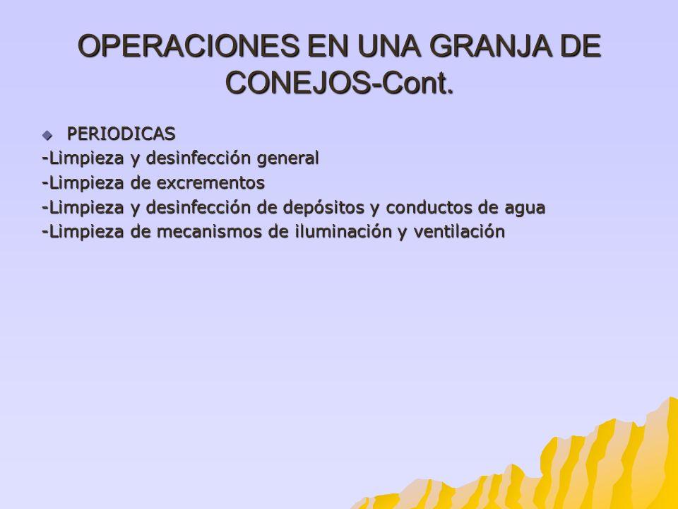 OPERACIONES EN UNA GRANJA DE CONEJOS-Cont. PERIODICAS PERIODICAS -Limpieza y desinfección general -Limpieza de excrementos -Limpieza y desinfección de