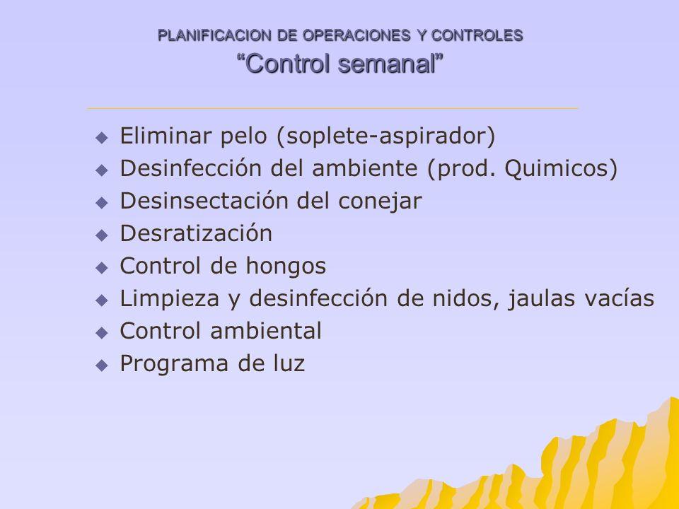 PLANIFICACION DE OPERACIONES Y CONTROLES Control semanal Eliminar pelo (soplete-aspirador) Desinfección del ambiente (prod. Quimicos) Desinsectación d