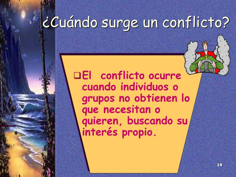 14 ¿Cuándo surge un conflicto? El conflicto ocurre cuando individuos o grupos no obtienen lo que necesitan o quieren, buscando su interés propio.