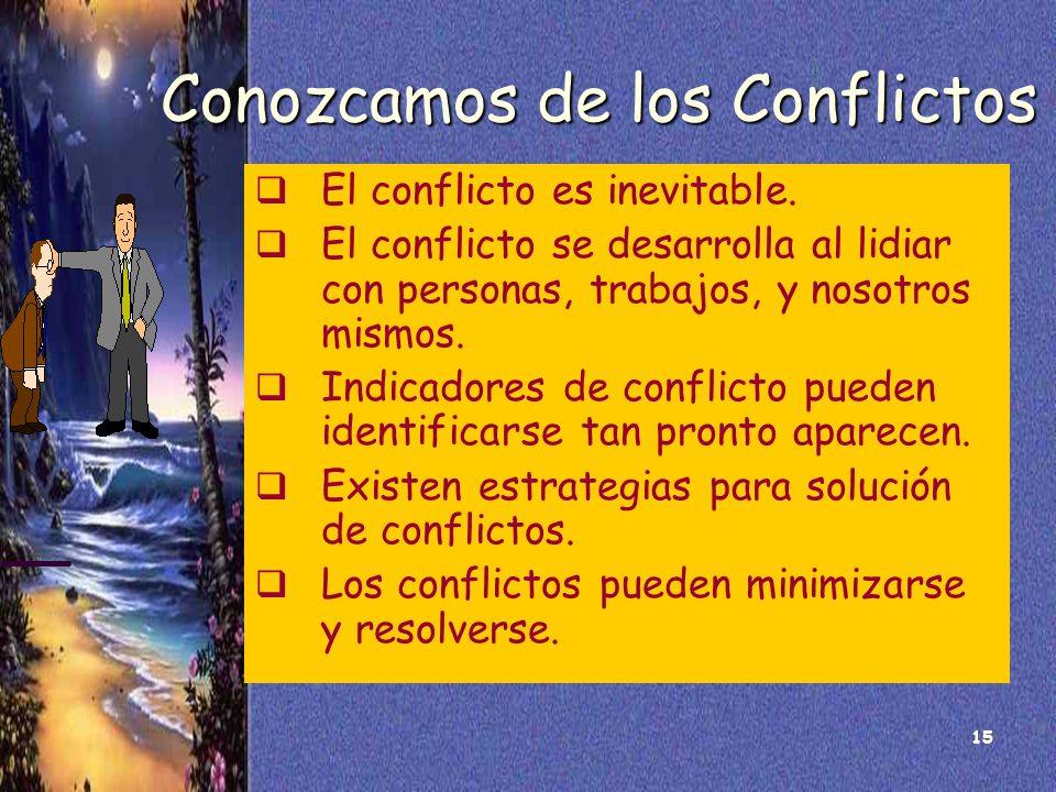 15 Conozcamos de los Conflictos El conflicto es inevitable. El conflicto se desarrolla al lidiar con personas, trabajos, y nosotros mismos. Indicadore