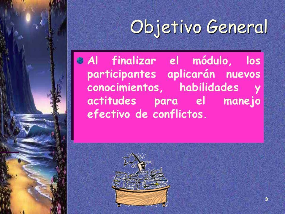 3 Objetivo General Al finalizar el módulo, los participantes aplicarán nuevos conocimientos, habilidades y actitudes para el manejo efectivo de confli