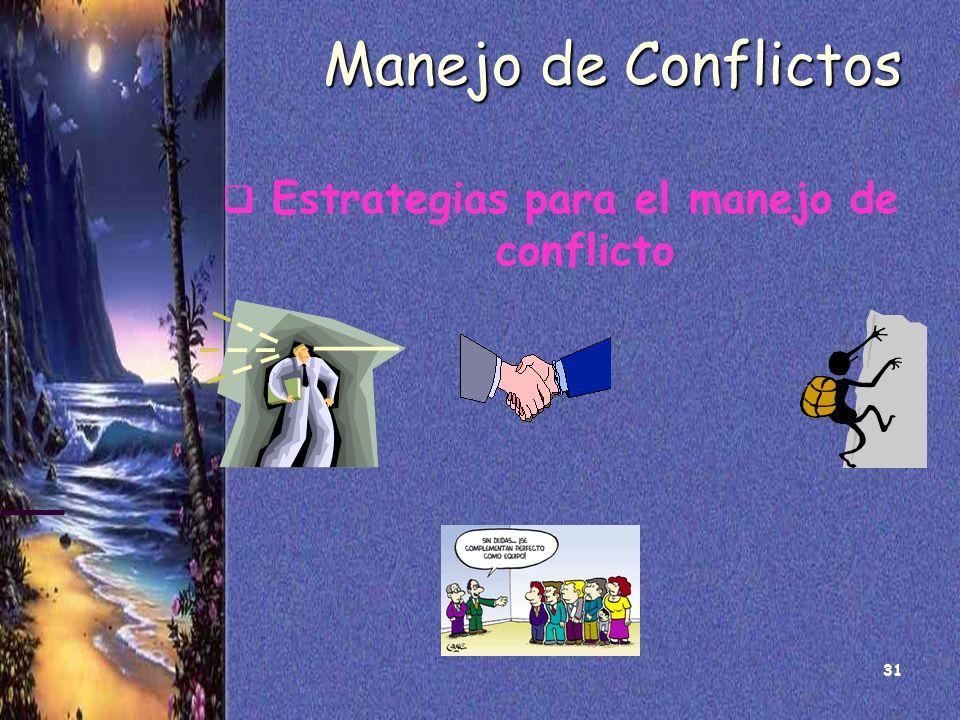 31 Manejo de Conflictos Estrategias para el manejo de conflicto