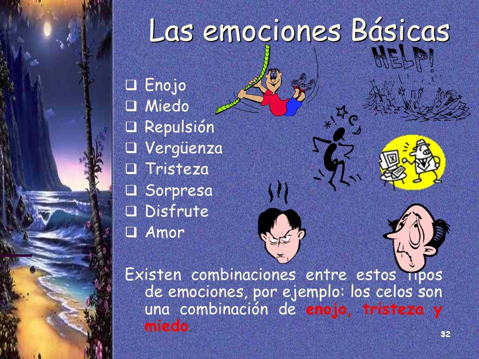 32 Las emociones Básicas Enojo Miedo Repulsión Vergüenza Tristeza Sorpresa Disfrute Amor Existen combinaciones entre estos tipos de emociones, por eje