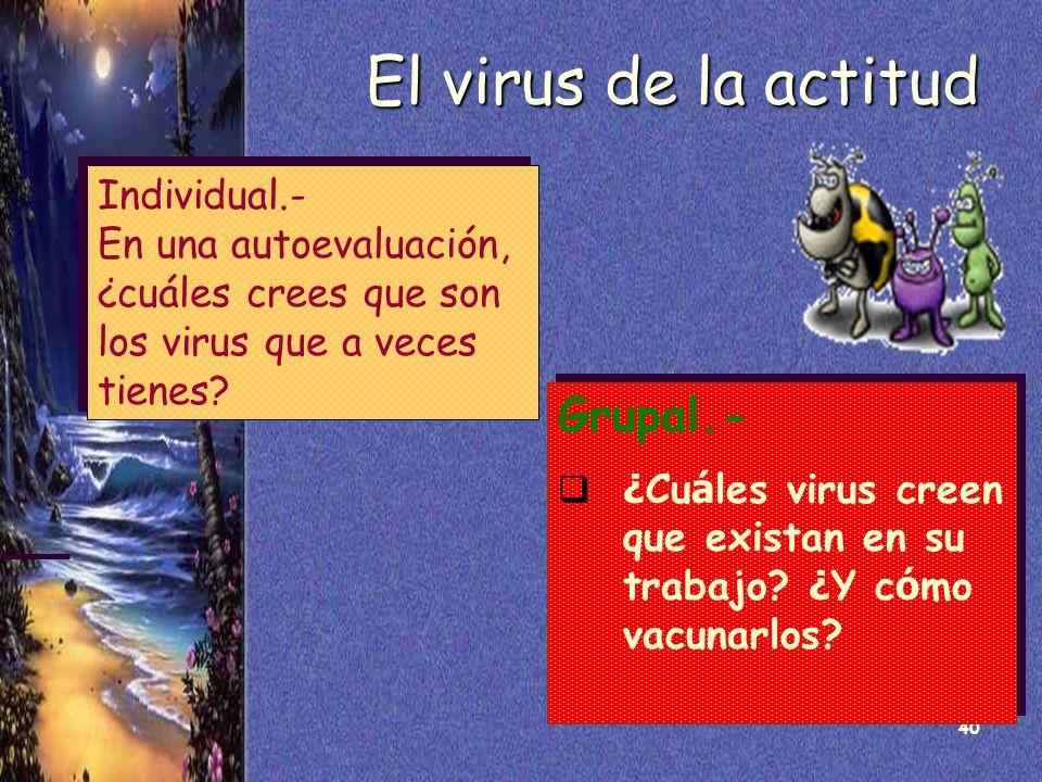 40 El virus de la actitud Individual.- En una autoevaluación, ¿cuáles crees que son los virus que a veces tienes? Individual.- En una autoevaluación,