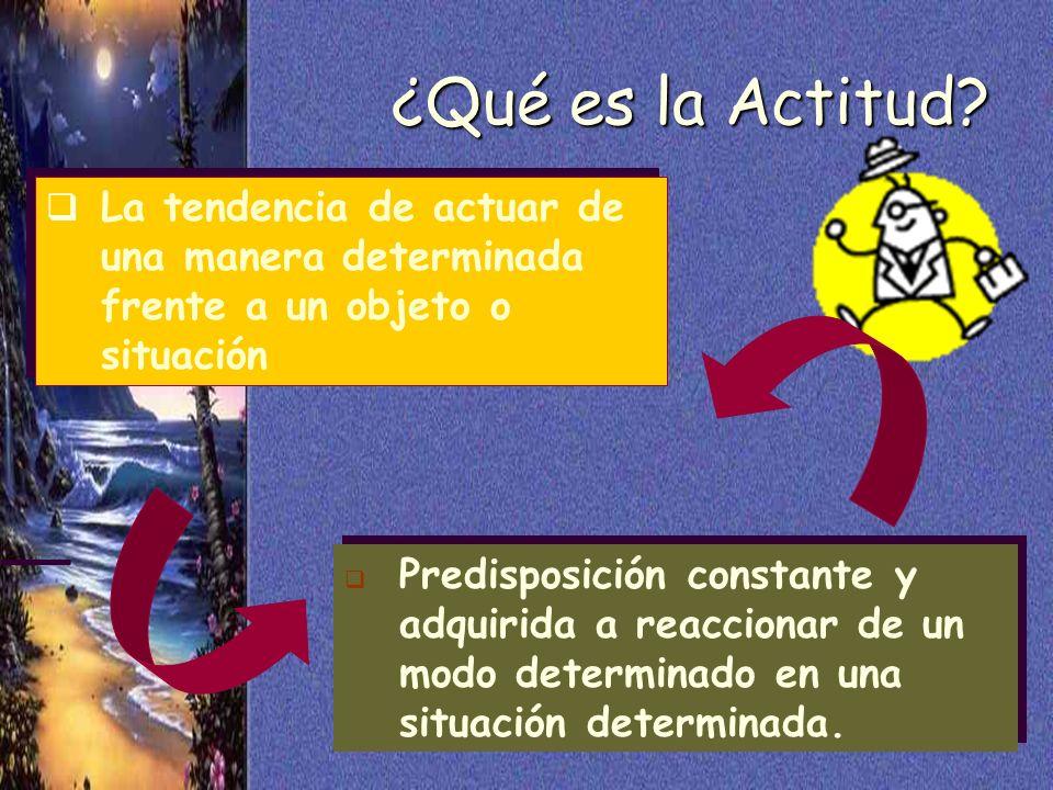 41 ¿Qué es la Actitud? La tendencia de actuar de una manera determinada frente a un objeto o situación Predisposición constante y adquirida a reaccion
