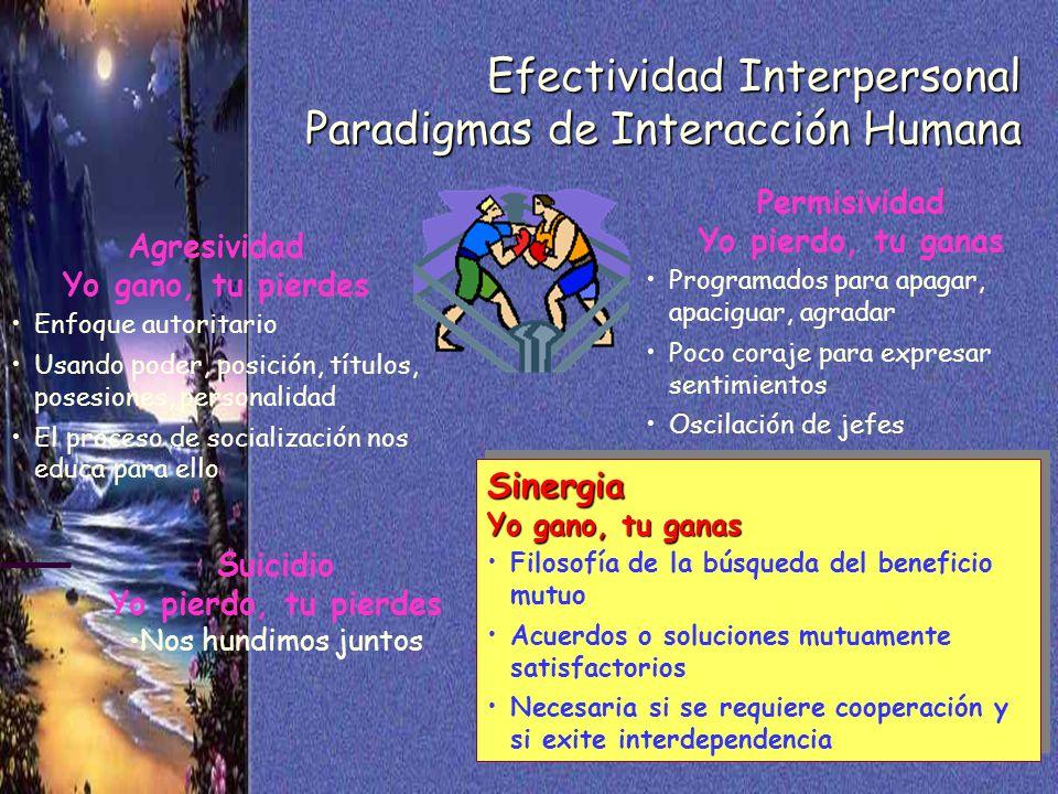 43 Efectividad Interpersonal Paradigmas de Interacción Humana Agresividad Yo gano, tu pierdes Enfoque autoritario Usando poder, posición, títulos, pos