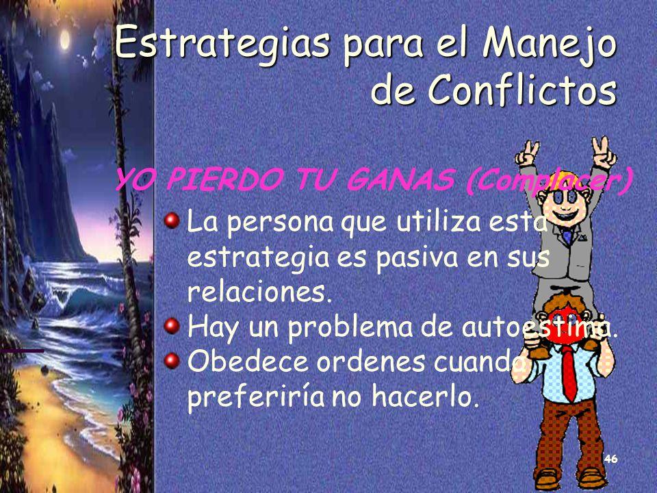 46 Estrategias para el Manejo de Conflictos YO PIERDO TU GANAS (Complacer) La persona que utiliza esta estrategia es pasiva en sus relaciones. Hay un
