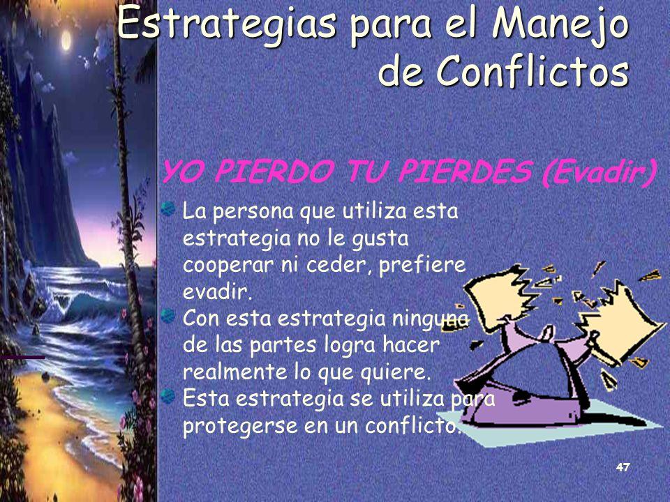 47 Estrategias para el Manejo de Conflictos YO PIERDO TU PIERDES (Evadir) La persona que utiliza esta estrategia no le gusta cooperar ni ceder, prefie