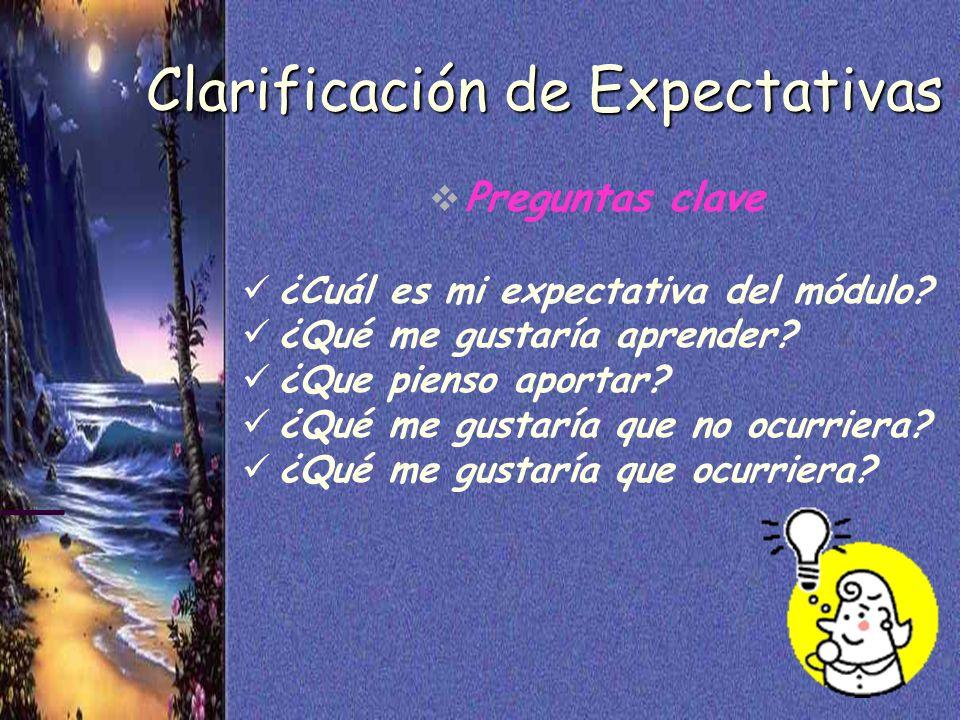 5 Clarificación de Expectativas Preguntas clave ¿Cuál es mi expectativa del módulo? ¿Qué me gustaría aprender? ¿Que pienso aportar? ¿Qué me gustaría q