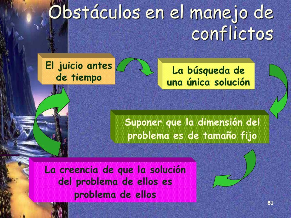51 Obstáculos en el manejo de conflictos El juicio antes de tiempo La búsqueda de una única solución Suponer que la dimensión del problema es de tamañ